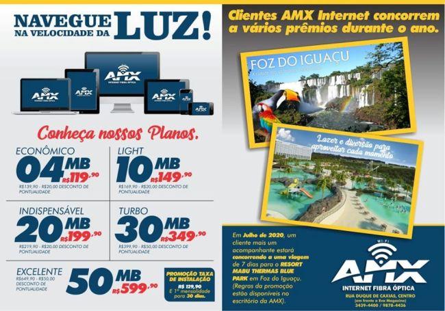 Clientes da AMX Internet Fibra Óptica vão concorrer a uma viagem para Foz do Iguaçu