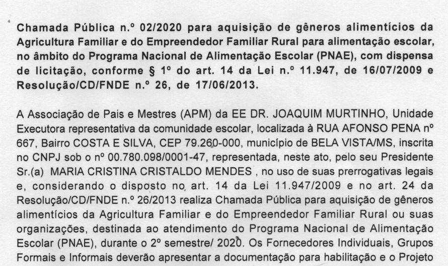 CHAMADA PÚBLICA DR. JOAQUIM MURTINHO
