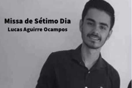 Convite para Missa do Sétimo Dia do Falecimento de Lucas Aguirre Ocampos